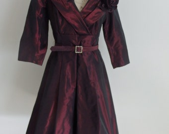 Stunning burgundy taffeta dress