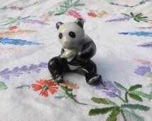 1980s Vintage Panda Figurine with Bamboo Leaf