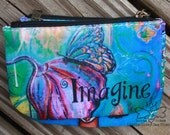 Butterfly Coin Purse - Change Purse - Imagine - Credit Card Holder - Butterfly Art - Whimsical Coin Purse - Whimsical Butterfly - Small Bag