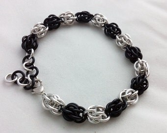 Black and Silver Sweetpea Bracelet