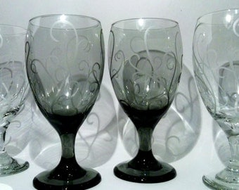 Etched glassware with scroll.  Black and white, wedding gift, wedding table glasses. Set of 8.