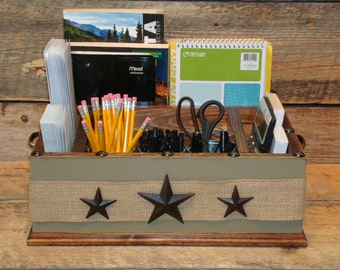 ... organizer with metal stars and burlap ribbon kitchen counter organizer