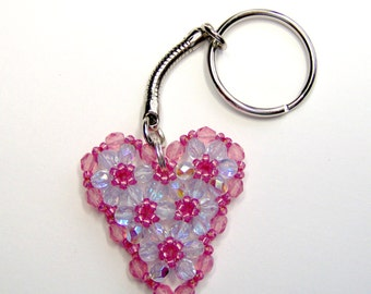 Pink heart keyring, crystal heart, beaded keyring, beaded heart, wedding keychain, heart keychain, wedding favor, valentine gift
