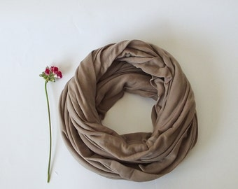 Cotton Circle Scarf, Oversize Scarf, Natural Loop Scarf, Infinity Scarf, Beige Foulard, Cotton Jersey Scarf, Spring Scarf, Women's Scarf,