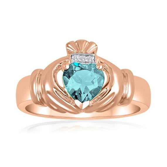 10k rose gold men 39 s aqua claddagh ring with 3 diamonds in. Black Bedroom Furniture Sets. Home Design Ideas