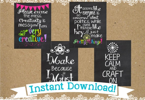Wall Art For Craft Room : Craft room chalkboard wall art typography