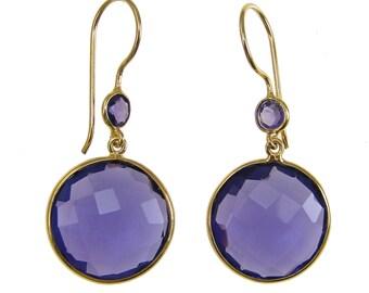 Purple Amethyst Earrings - Gemstone Gold Dangle Drop Earrings