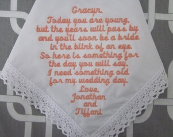 Personalized Flower Girl Handkerchief