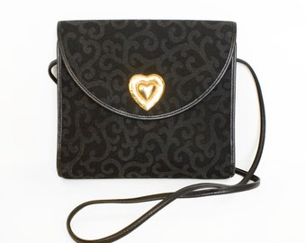 Original Vintage 1980s YSL Yves Saint Laurent Small Black Shoulder Bag or Clutch Gold Heart Arabesque Damask