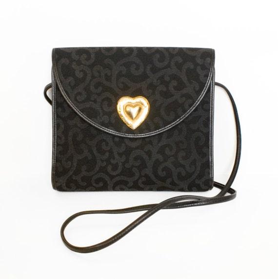 Original Vintage 1980s YSL Yves Saint Laurent Small Black Shoulder Bag or Clutch Gold Heart Arabesque Damask