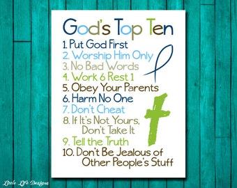 Christian Wall Art. Ten Commandments. Bible Verse. Godu0027s Top Ten For Kids. Part 95