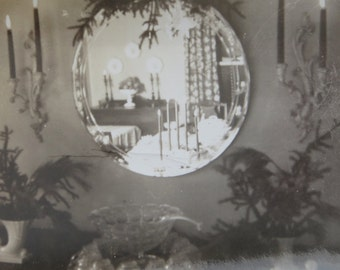 Through The Looking Glass - 1940's Reflection Snapshot Photo - Free Shipping