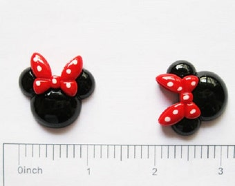 2/3/5 pc Black Minnie Mouse Head with Red and White Polka Dot Bow Resin Flat back Cabochon Hair Bow Center
