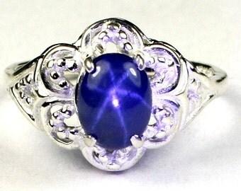 Blue Star Sapphire, 925 Sterling Silver Ring, SR125