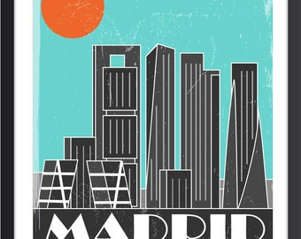 Madrid Skyline Poster, Madrid Skyline Art, Madrid Skyline Print