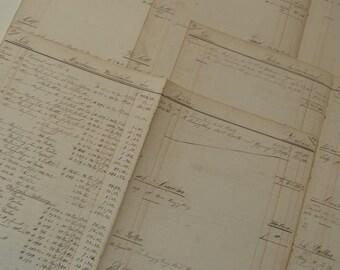 antique HANDWRITTEN ACCOUNTS PAPER c 1860 , 10 pages for craft decoupage etc ?