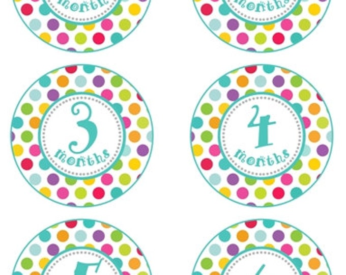 Instant Download - Baby Month to Month Stickers, Polka Dot Monthly Birthday Stickers for Baby, Photo Prop Birthday Stickers