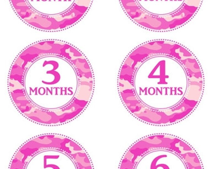 Instant Download - Pink Camo Baby Month to Month Stickers, Monthly Birthday Stickers for Baby, Photo Prop Birthday Stickers, Pink Camo