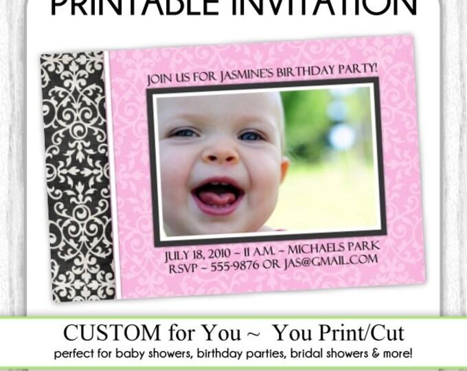 First Birthday Invite, 1st Birthday Invitation, Photo Birthday Invite, Digital Design - CUSTOM for You - 4x6 or 5x7 size - YOU print