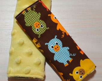Car Seat Strap Covers - Blue, Green, Yellow, Orange Pigs
