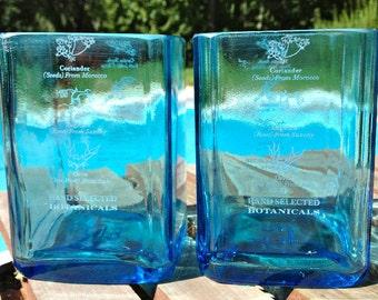 Bombay Sapphire Tumblers-Pair, Bombay Gin Glasses, Bombay Sapphire Gin Tumbler, Bombay Sapphire Bar Ware