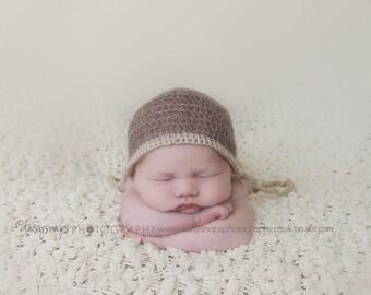 mohair baby bonnet, baby crochet hat, baby bonnet, newborn Photo prop, newborn hat