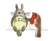 ACEO Blue Eggs and Tea Robin Meets Totoro Mini Art Illustration Print 3.5x2.5inch