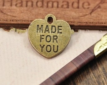 """Heart charm - 50pcs """" made for you"""" heart Charm pendant 15x16mm"""