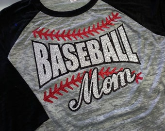 Baseball Mom Glitter - 3/4 Length Burnout and Burnout Hoodies - Custom Glitter Baseball Mom Color