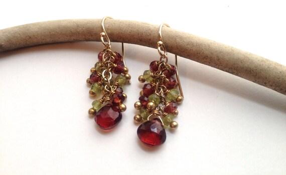 Ruby Red Garnet and Peridot Earrings Gold Filled January Birthstone Garnet Cluster Earrings January Birthstone Everyday Earrings