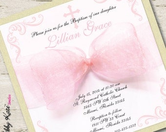 Baptism Invitation Girl Christening Invitation Pink and Gold