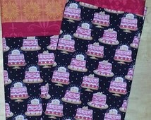 Standard Custom Pillowcase.  Birthday Cake themed Fabric with Orange and red border at opening.