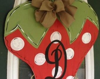 Monogram Strawberry Door Hanger Sign