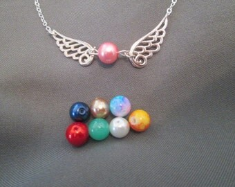 Silver Wings Necklace - Choose Colored Bead