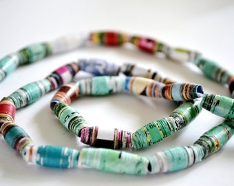 100 Colorful Recycled Magazine Paper Beads (3/4 in)