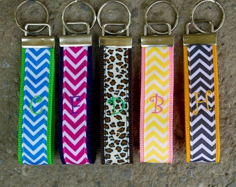 Personalized Curly Font Initial Key Fob Keychain in chevron, animal print, or polka dots