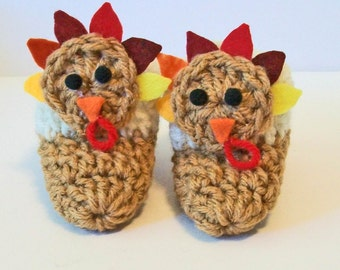 Adorable Hand Crocheted Baby Bootie Shoes Thanksgiving Turkey Great Photo Prop Matching Hat & Bib Also Available