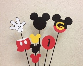 Mickey Mouse Birthday Centerpiece toppers (5) - or Baby Shower
