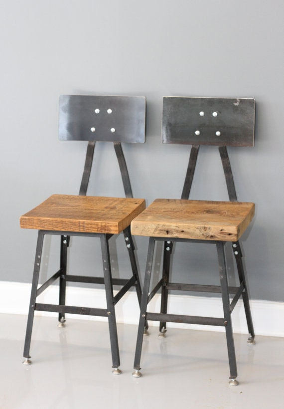 Set Of 2 Barstool Industrial Barstool Steel Reclaimed By