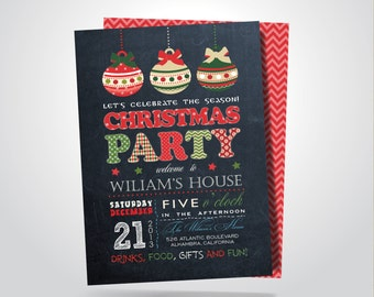 Christmas Party Invitation, Retro Chalkboard, Digital Printable Double Sided File