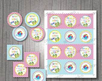 "Pool Party Favor Tags, Cupcake Toppers 2.5"" x 2.5"", Gift Tags, Pool Birthday, Instant Download Printable, DIY"