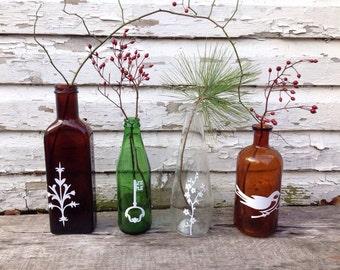 Decorated vintage bottle vase upcycled home decor Eco friendly gift