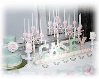 3 Wedding Candelabras 3 arm Shabby Candle Holder