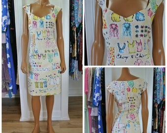 Moschino Dress 1980s Cheap and Chic Shift Wiggle Sheath Light Yellow Fashion Illustrations/ 10/ M