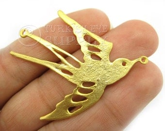 Gold Swallow Connector, Bird Connectors, Matte 22K Gold Plated Swallow Pendant, Finding, Turkish Jewelry Good Luck Charms