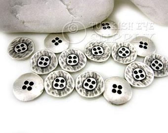 15 Pc Antique Silver Round Pewter Buttons, Turkish Jewelry