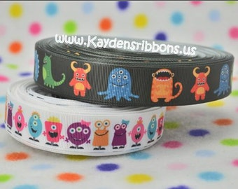 3 yards Monsters Aliens - 7/8 inch  - Printed Grosgrain Ribbon CHOOSE DESIGN