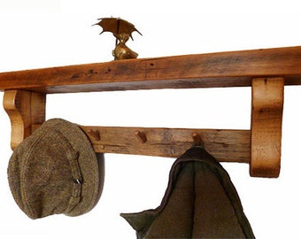 Chunky rustic pine shelf coat rack combi, wooden shelf, coat hooks/pegs