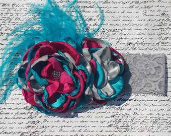 Tri Colored Handmade Heated Satin Headband with Ostrich Feathers