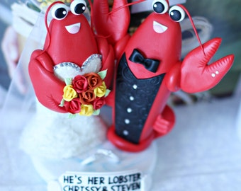 A clay Lobster Couple wedding Cake Topper / Raced dress on the bride